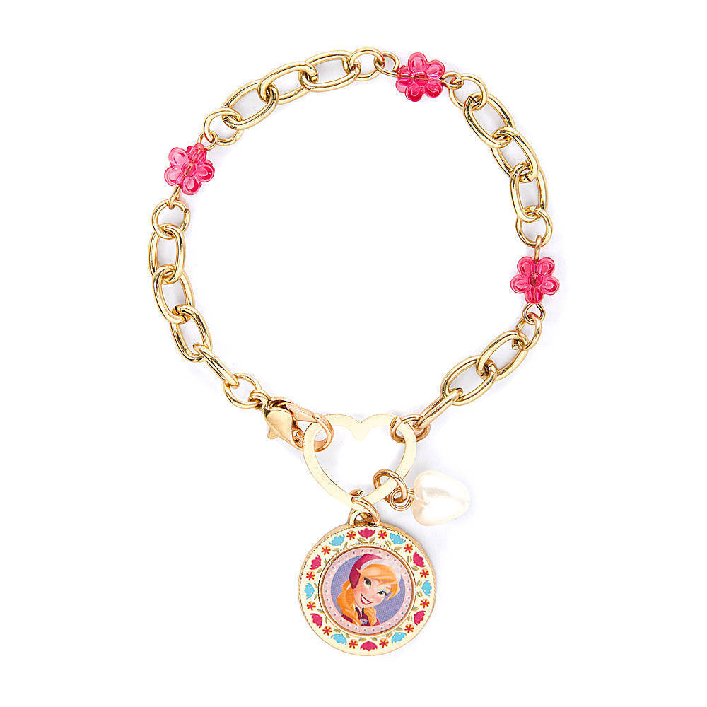 disney princess frozen charm bracelet gold pink