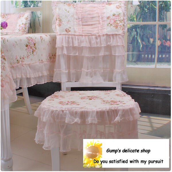 Shabby Delicate Victorian Pink Rose Floral Chair Pad