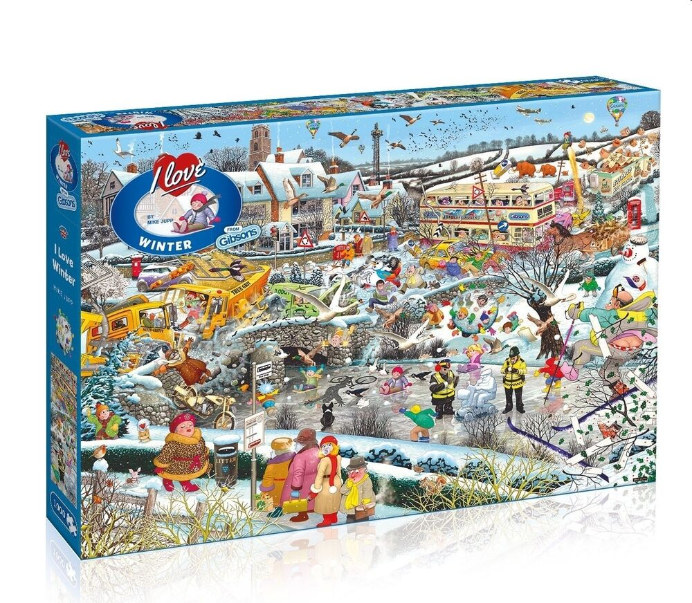 gibsons i love winter 1000 piece humourous mike jupp jigsaw puzzle 696572117941 ebay. Black Bedroom Furniture Sets. Home Design Ideas