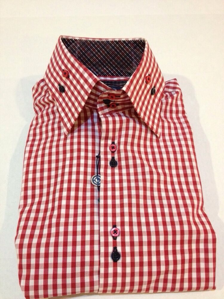 New mens max lauren by brio red check high collar dress for Mens high collar dress shirts