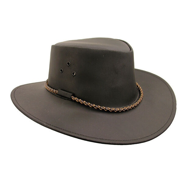 Kakadu Mens Leather Echuca Hat Brown Aussie Wide Brim