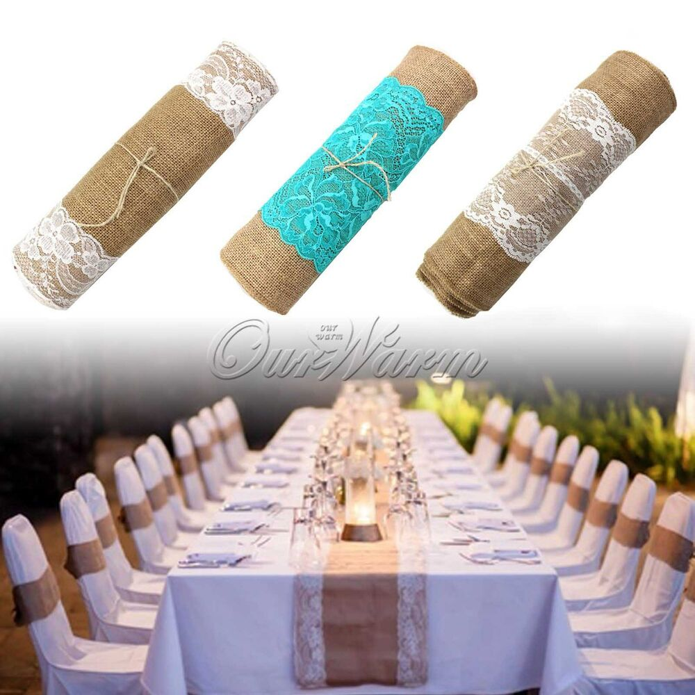 New rustic burlap lace hessian table runners natural jute wed table