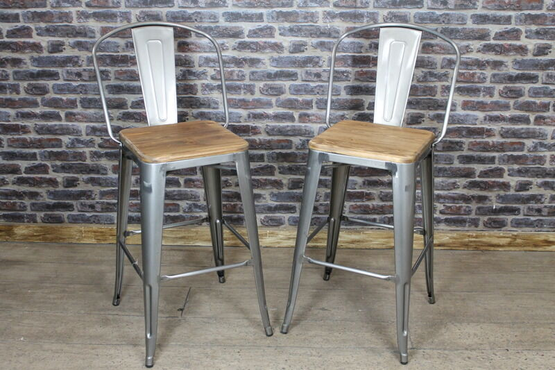 Vintage Industrial Tolix Style Bar Stool With Wooden Seat