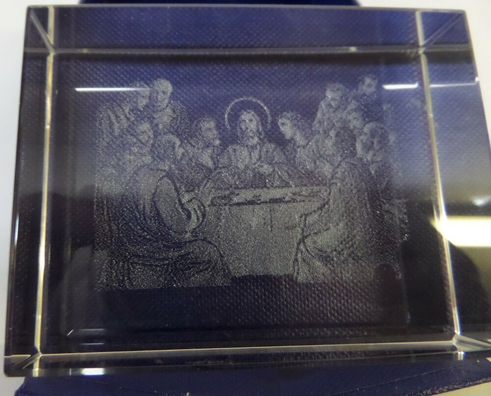 Laser Etched Crystal Glass Paperweight Last Supper Jesus