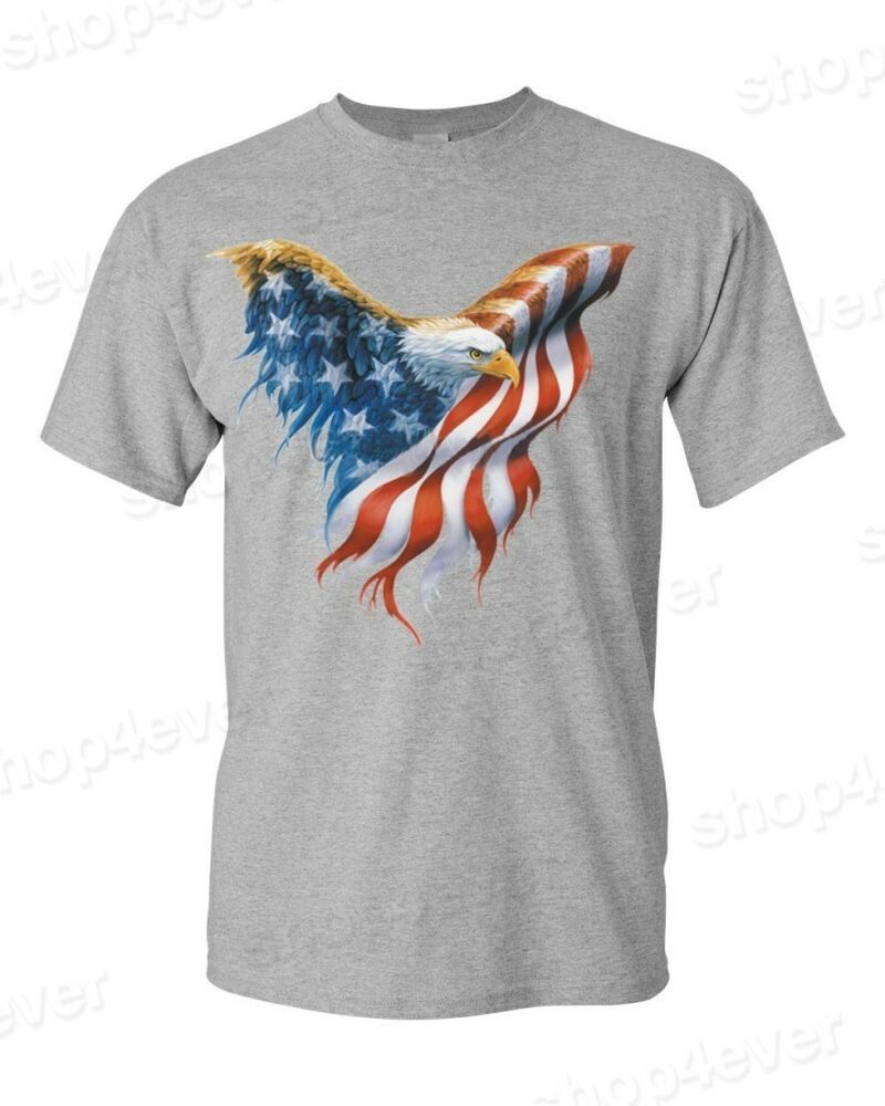 Usa flag eagle wings t shirt united states flag shirts for American apparel t shirt design