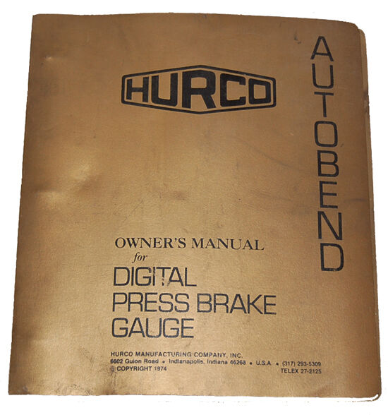 Manual Brake Gauge : Hurco autobend s digital press brake gauge operation
