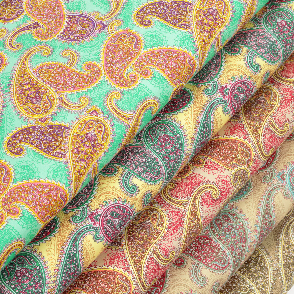 100 cotton fabric per fq vintage paisley retro floral for Cotton quilting fabric