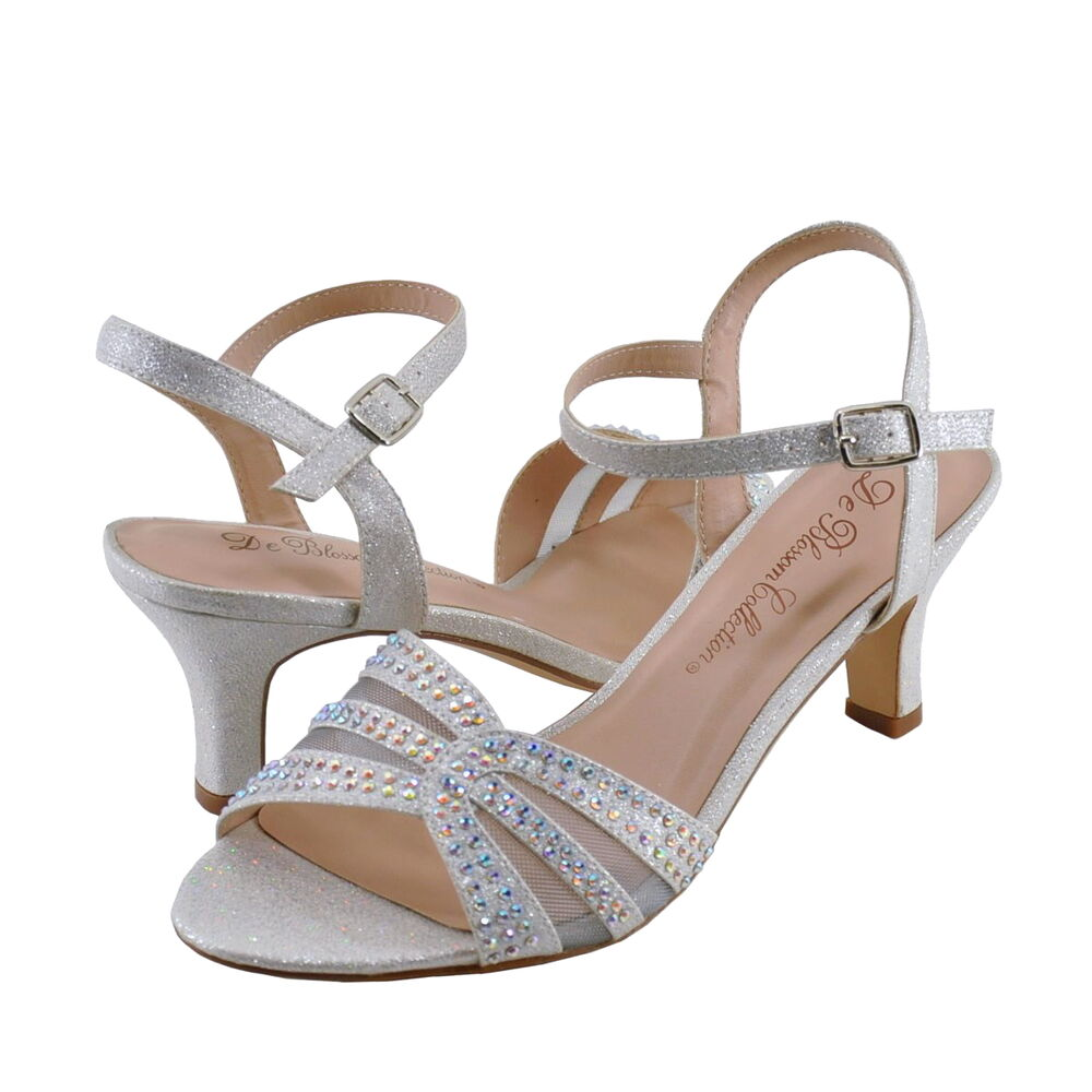 Women's Shoes Blossom Crystal 1 Embellished Low Heel Dress Sandals Silver *New* | eBay
