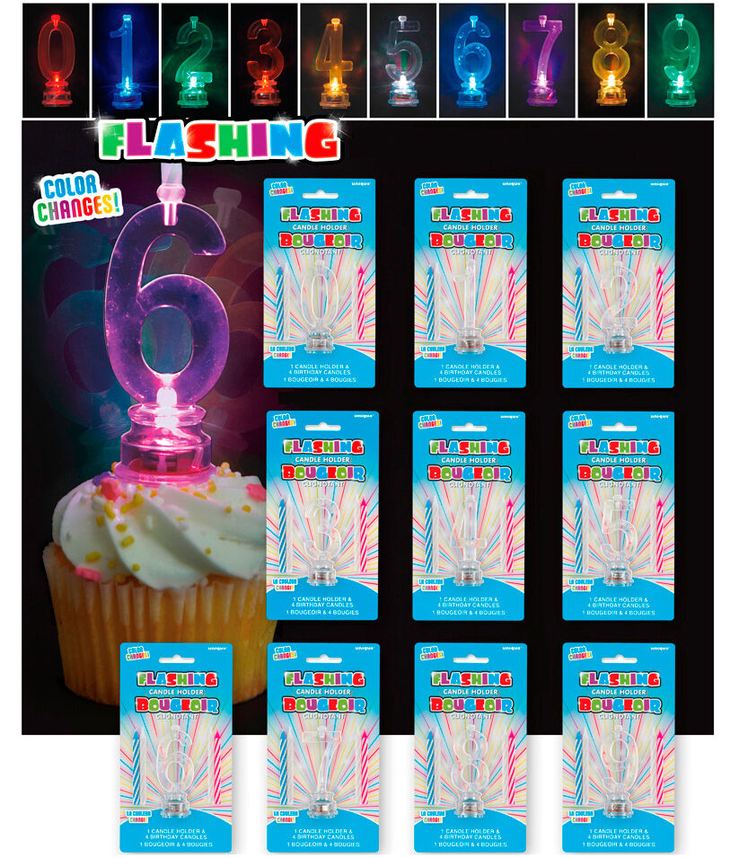 Flashing number birthday cake candle holder party for Number 4 decorations