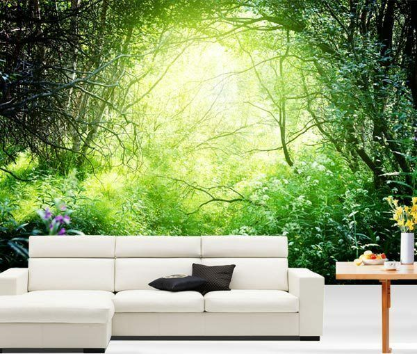 Deep forest sun light nature 3d full wall mural photo for Home wallpaper ebay