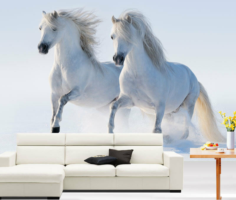 Two white horses gallop snow 3d full wall mural photo for Home wallpaper ebay