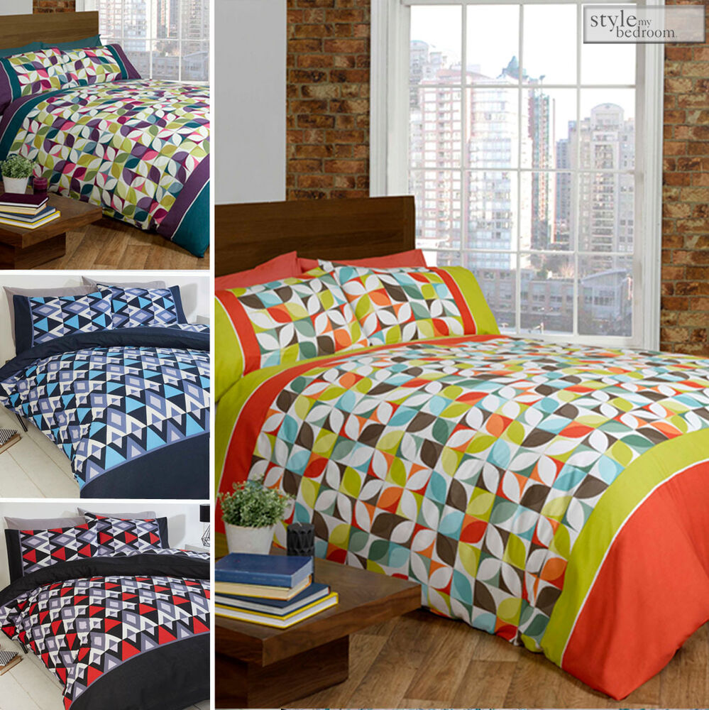 Abstract Geometric Amp Zig Zag Print Duvet Quilt Cover Set