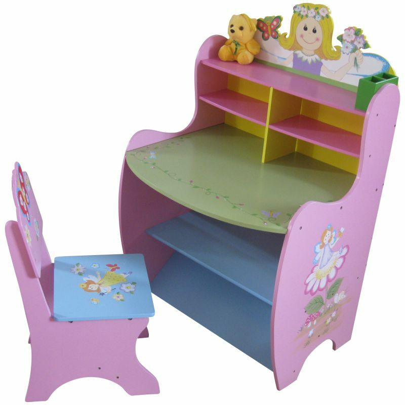 Girls Wooden Pink Desk And Chair Set Fairy Princess Themed
