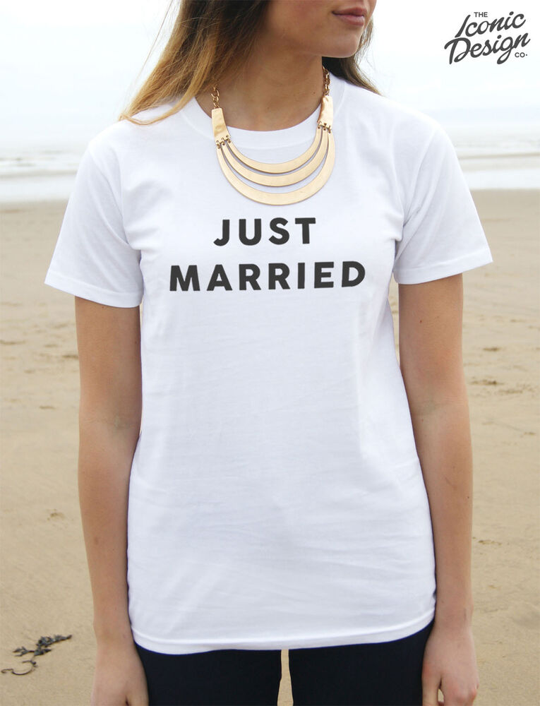 Just Married T Shirt Top Shirt Tee Fashion Gift Couple