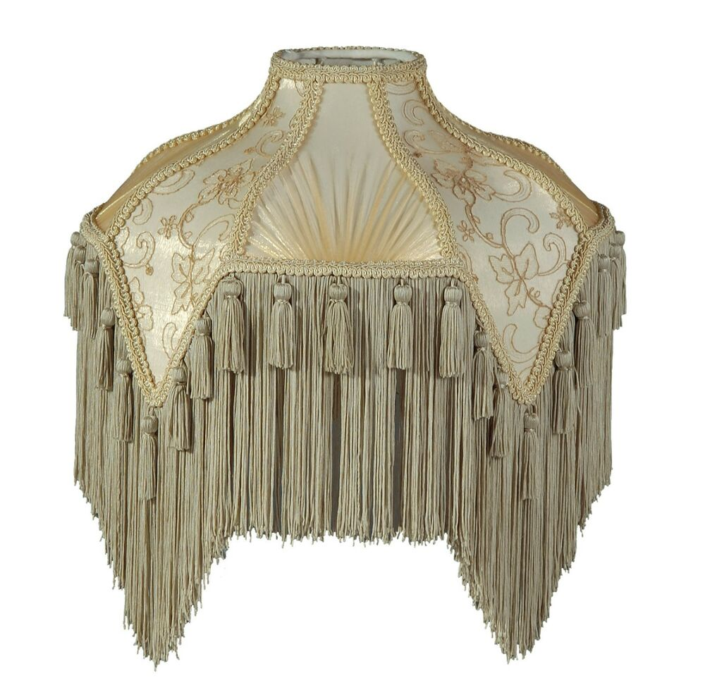 Victorian Fringed Lamp Shade Beige And Champagne Wild Rose