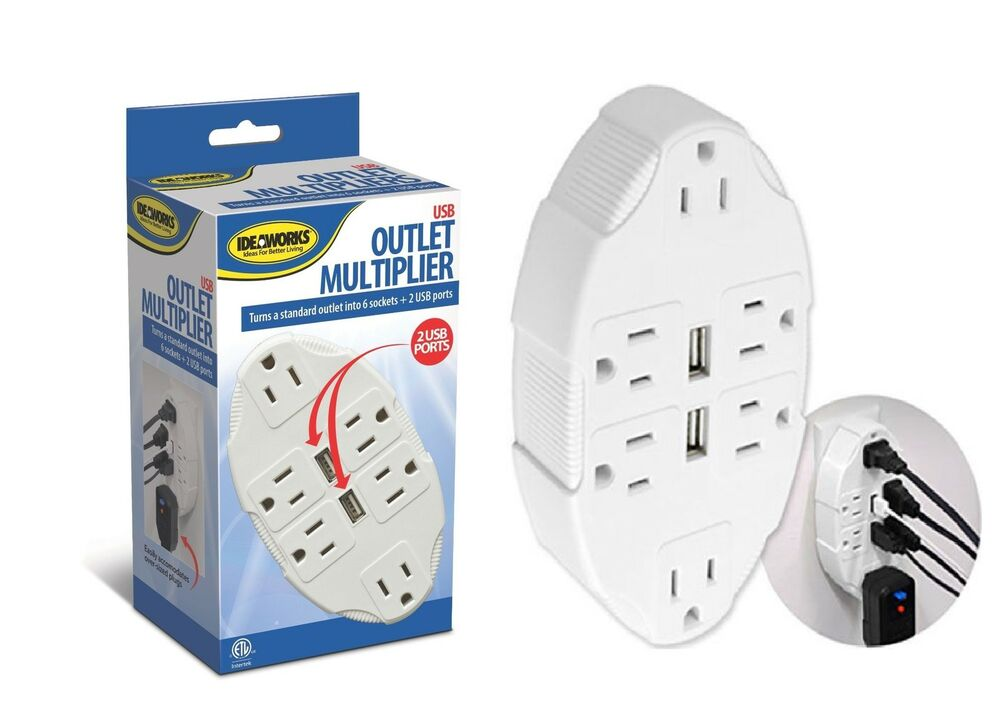 Usb multiple outlet switch multiplier port plug universal electric plugs plate ebay - Electrical outlet multiplier ...