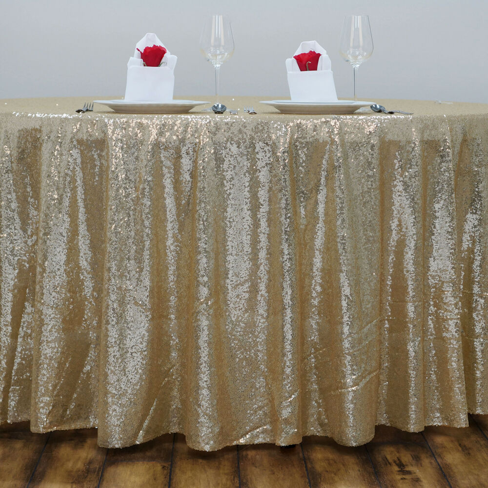 120 champagne sequin round tablecloth wedding party for 120 round table cloths