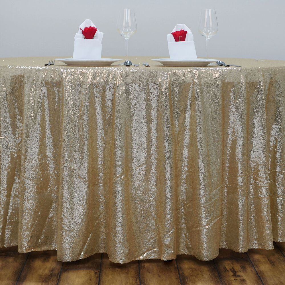 Champagne sequined 120 round tablecloth designer wedding for 120 round white table linens
