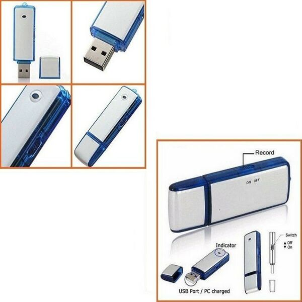 PEN DRIVE SPIA REGISTRATORE VOCALE USB 8GB MINI AUDIO RECORDER MICROSPIA CIMICE