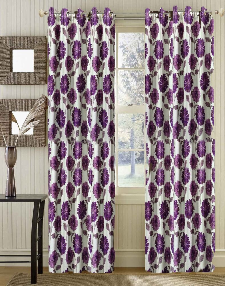 Ready Made Premium Quality Floral Curtains Pink Purple