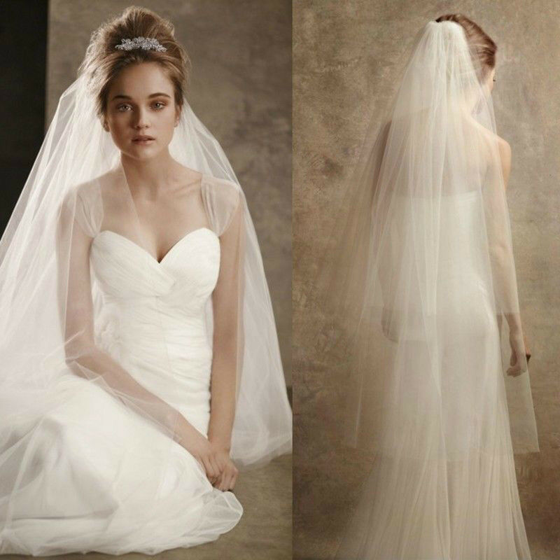 2 Laye White Ivory Bride Wedding Dress Fitting Accessories Cathedral Veil Comb