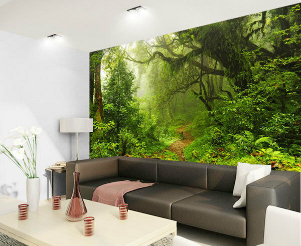 Tropical dark green forest nature rainforest 3d full wall for Mural 3d wallpaper