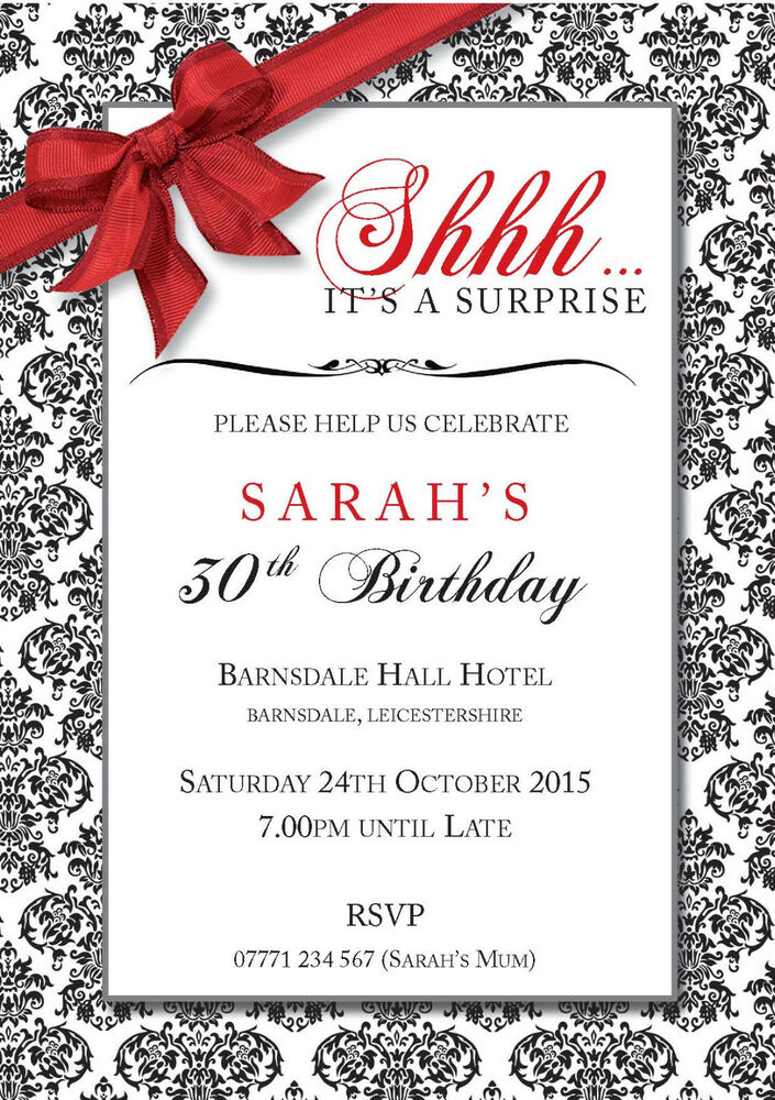 PERSONALISED BIRTHDAY PARTY INVITES Surprise Invitations Red EBay