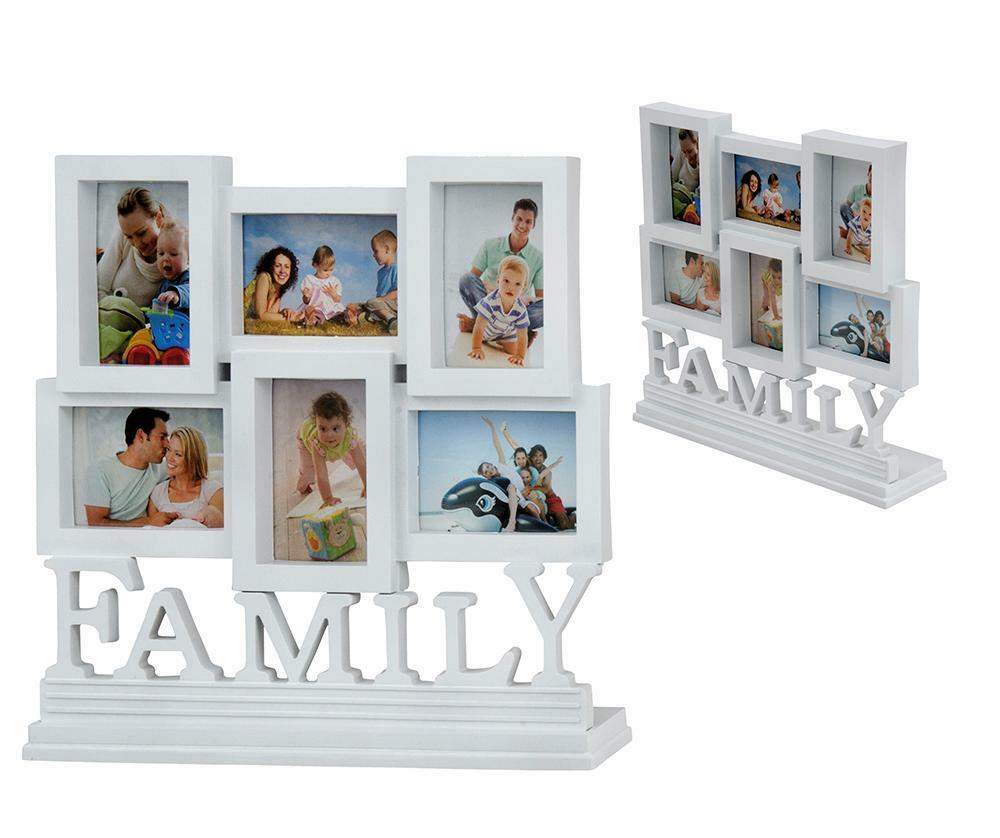 White 6 pcs family photo picture frame set home desk for Displaying pictures in your home