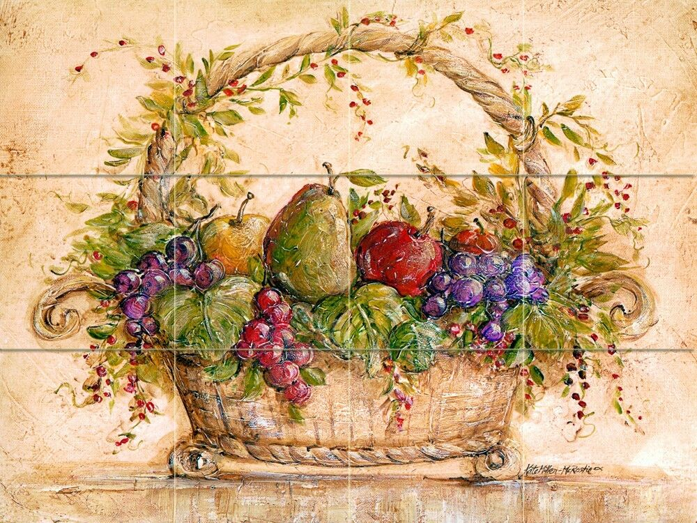 24 x 18 art mural ceramic fruits basket backsplash tile for Ceramic tile mural backsplash