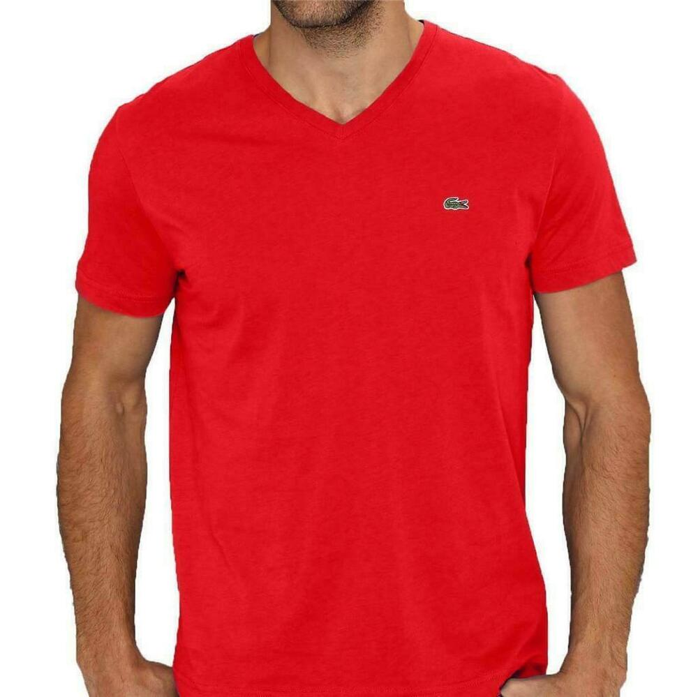 brand new lacoste men 39 s athletic pima cotton v neck shirt t shirt pompier red ebay. Black Bedroom Furniture Sets. Home Design Ideas