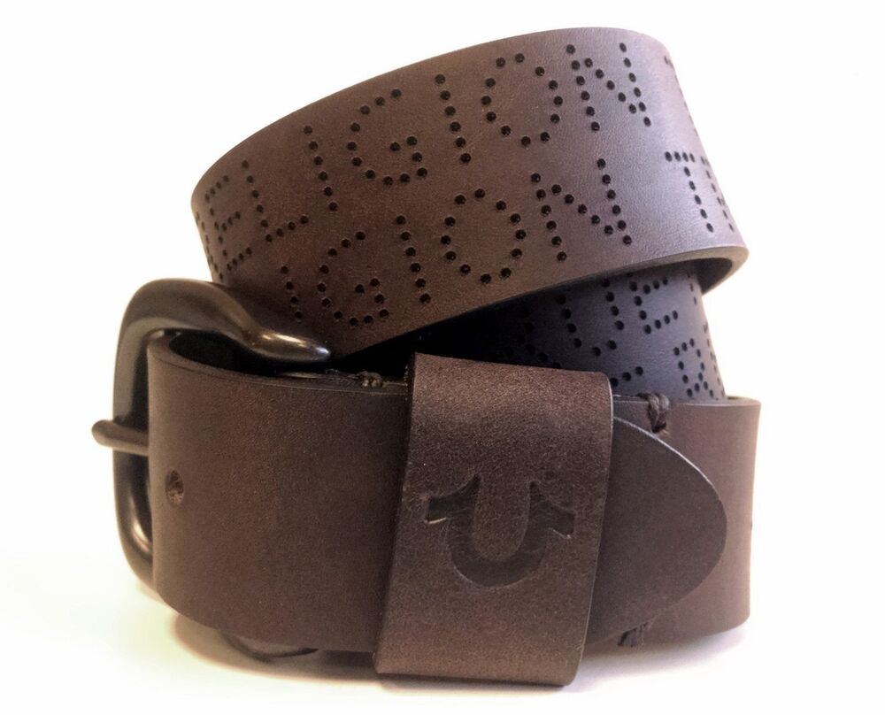 true religion jeans men u0026 39 s perforated leather belt brown  runs small tus150036