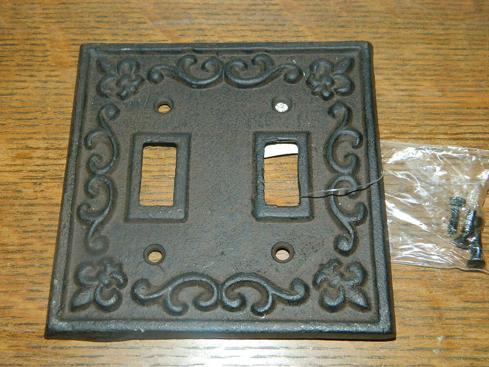 Rustic cast iron french fleur de lis double switch light outlet plate cover ebay - Wrought iron switch plate covers ...