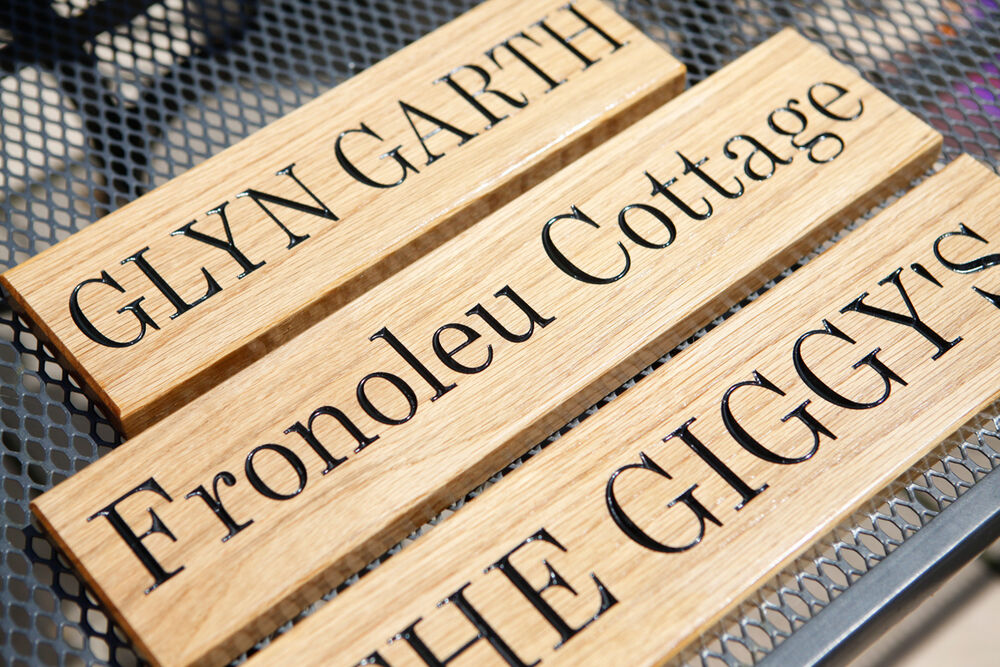 Oak Wood Signs ~ Solid oak personalised wood sign carved house name gate