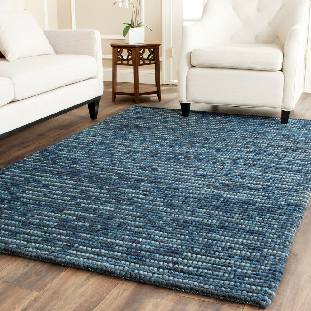 Safavieh bohemian dark blue wool jute area rug boh525g for Blue and white carpet