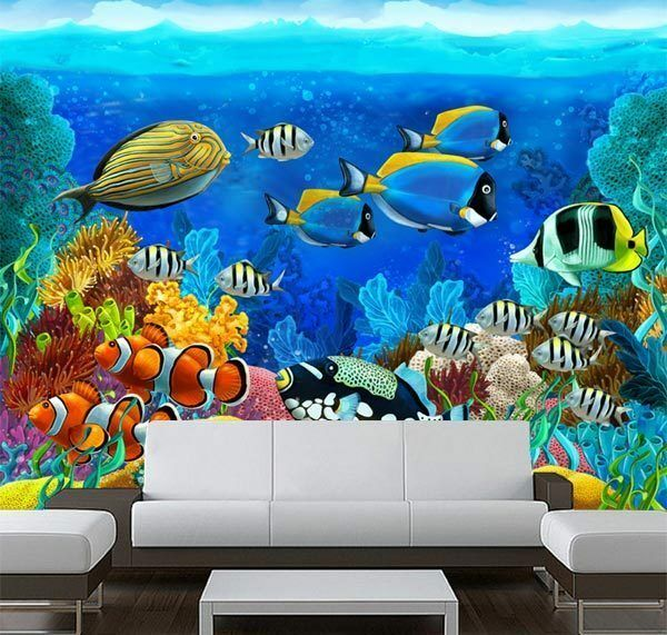 Aquarium corals fish underwater 3d full wall mural photo for Aquarium mural