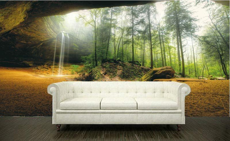Cave in forest nature rock waterfall 3d full wall mural for 3d nature wallpaper for wall