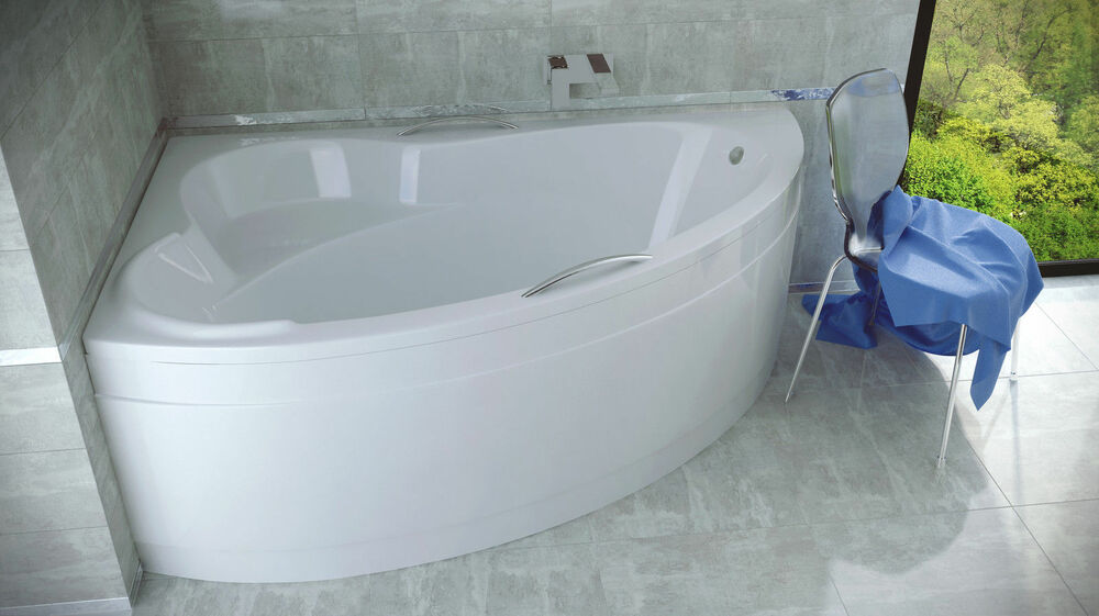 Offset corner bath ada space saver 1400 x 900mm with for Fenetre 85 x 130