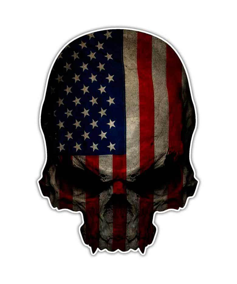 Military Skull American Flag Decal Sticker Large Size 12
