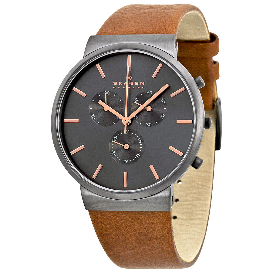 skagen ancher chronograph grey brown leather mens
