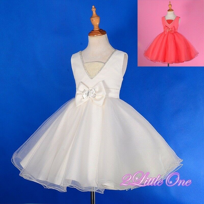Pearls diamonds flower girl dress wedding pageant party for Wedding dresses with pearls and diamonds