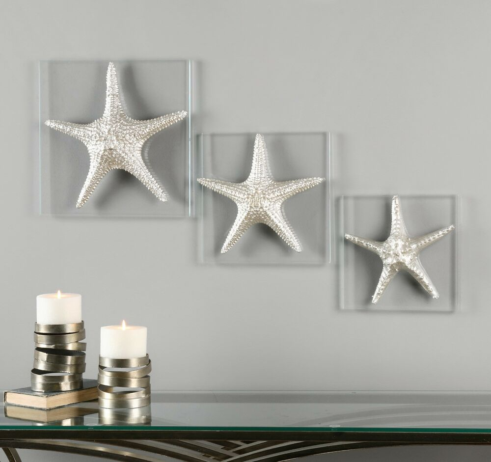 Three new decorative starfish silver on glass wall art for Silver wall art