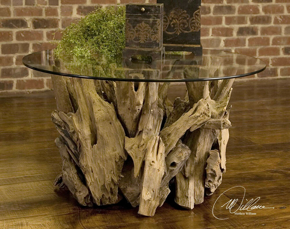 36 Unfinished Teak Driftwood Glass Cocktail Coffee Table Rustic Cabin Lodge Ebay