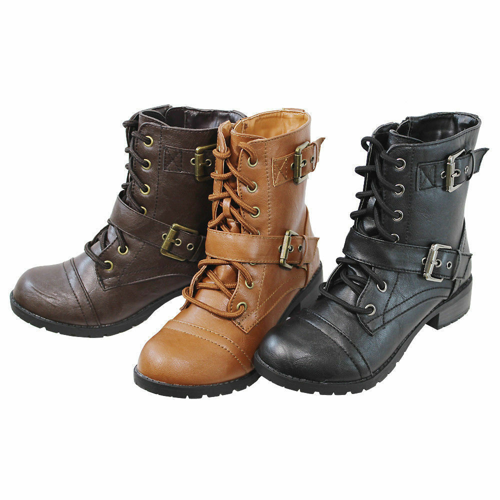 Wonderful Womens Combat Style Army Worker Military Ankle Boots Flat Punk Goth S