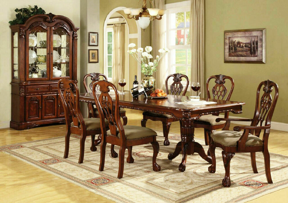 Brussels traditional formal dining room set 9 piece w for Traditional dining table with bench