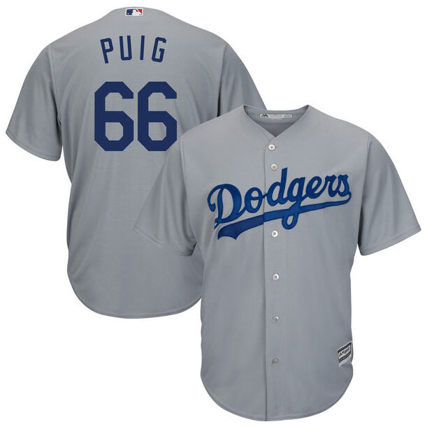 Details about MLB Los Angeles Dodgers Yasiel Puig  66 Cool Base Men s Road  Replica Jersey Gray 84fb2fd035a