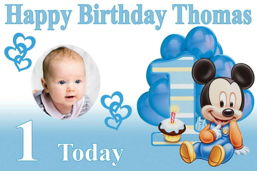 Large Boys 1st Birthday Baby Mickey Mouse Banner Poster