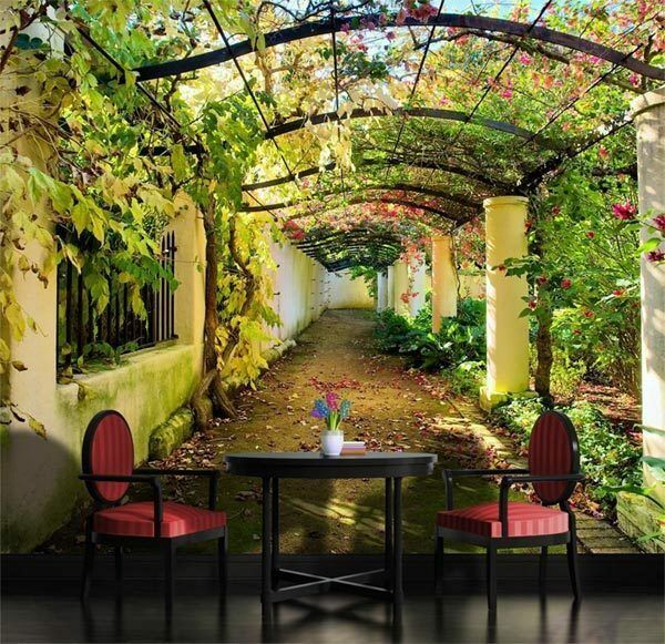 Garden pergola 3d mediterranean arbor full wall mural for Wallpaper home and garden