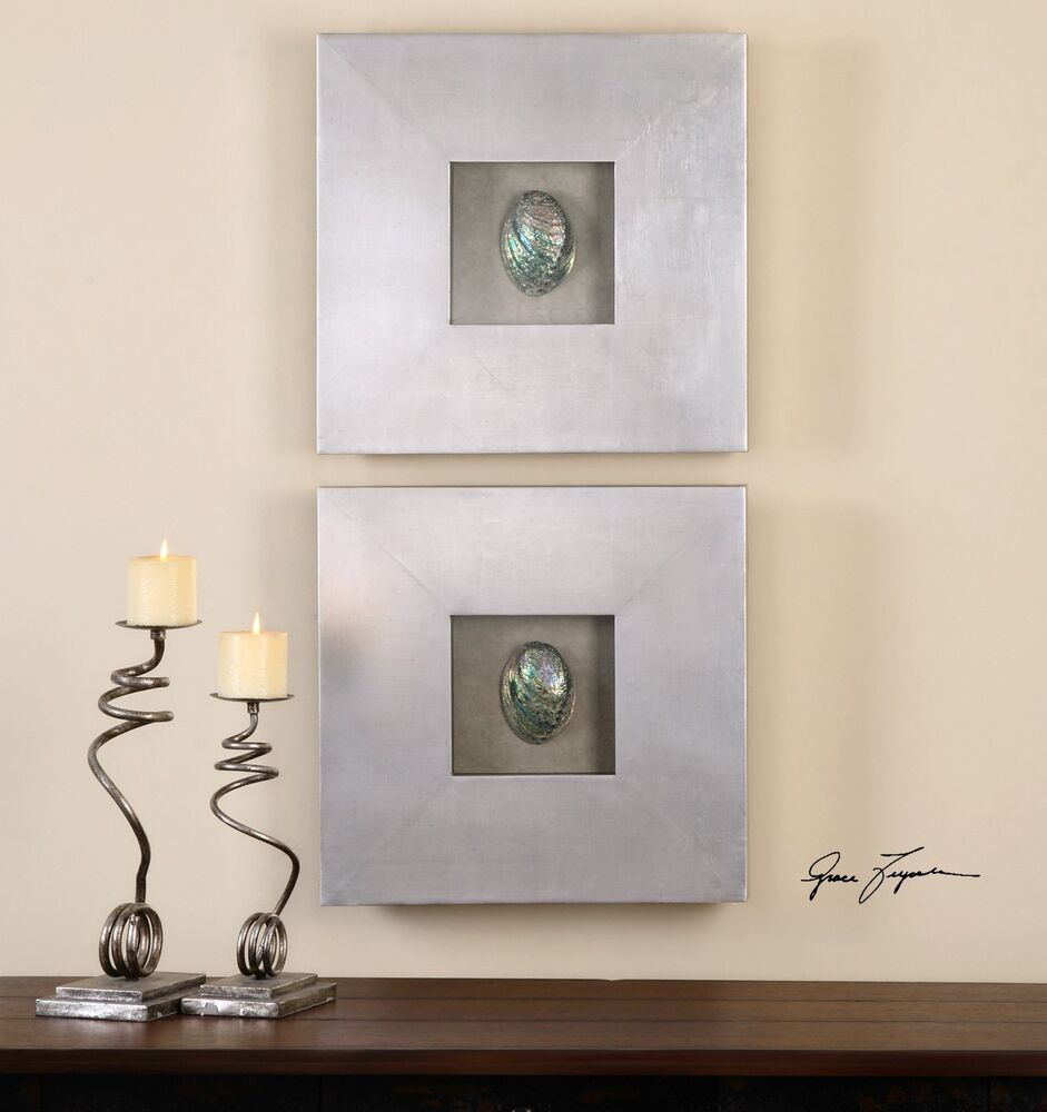 NEW SET OF TWO ABALONE SHELL SHADOW BOX DECORATIVE WALL