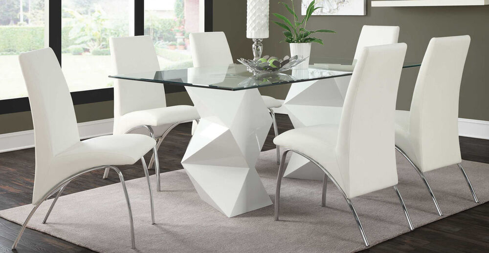 Ultra modern white zigzag dining table 6 arched chairs for Ultra modern dining room