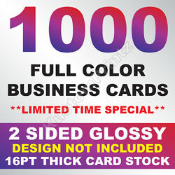 Kyпить 1000 FULL COLOR BUSINESS CARDS W/ YOUR ARTWORK READY TO PRINT - 2 SIDED GLOSSY на еВаy.соm